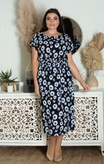 Алла. Платье міді великих розмірів. Ромашки