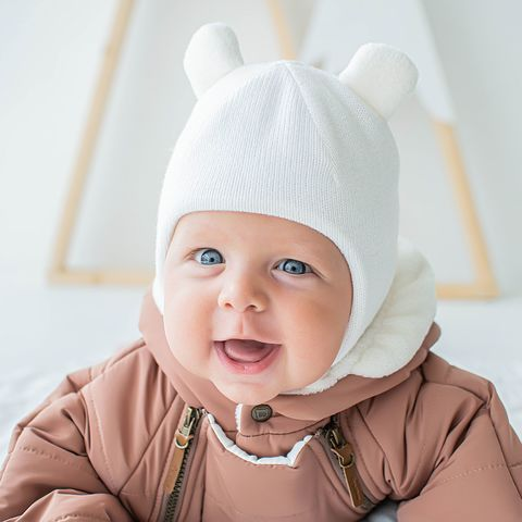 Winter balaclava with snap buttons 0+, Milky White