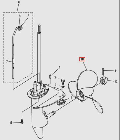Винт гребной для лодочного мотора T9.8 Sea-PRO (14-10)
