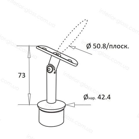 Верхний элемент стойки D=42,4 мм ST-421 с регулируемым ложементом