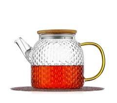 """Чайник стеклянный заварочный с бамбуковой крышкой """"Меркурий"""", 800 мл"""