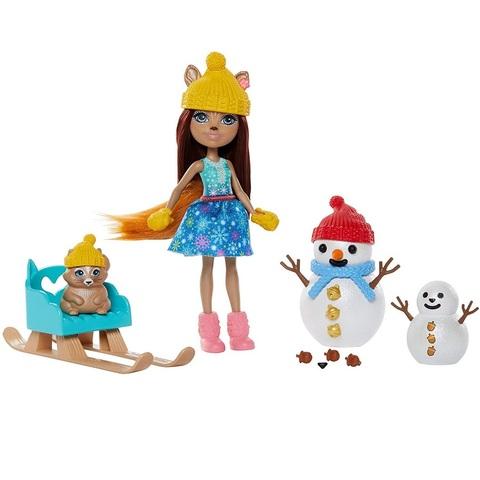 Набор с Белкой Шарлоттой, Вэйлантом и Снеговиками. Энчантималс в Снежной Долине