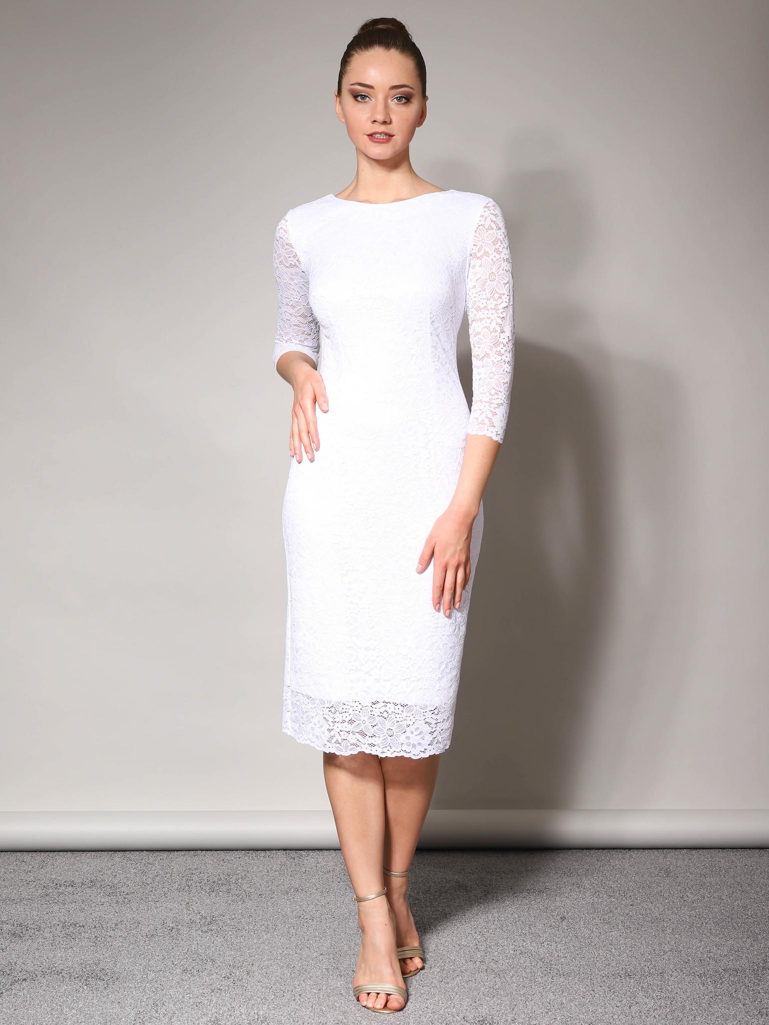 Свадебное кружевное платье с длинным рукавом (белый)
