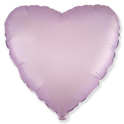 Шар сердце Сиреневый сатин, 45 см