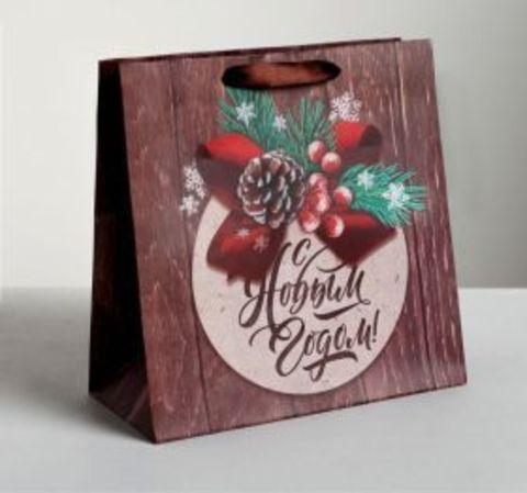 Подарочный пакет (новогодний, коричневый)