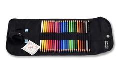 Набор художественных цветных карандашей POLYCOLOR 24 цвета с металлической точилкой и ластиком в черного цвета текстильном пенале-рулоне на кнопке