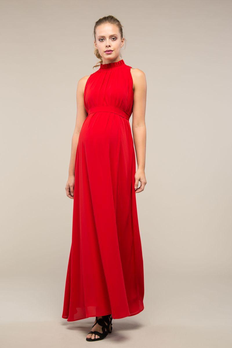 Фото платье для беременных GEBE, вечернее, длина макси от магазина СкороМама, красный, размеры.
