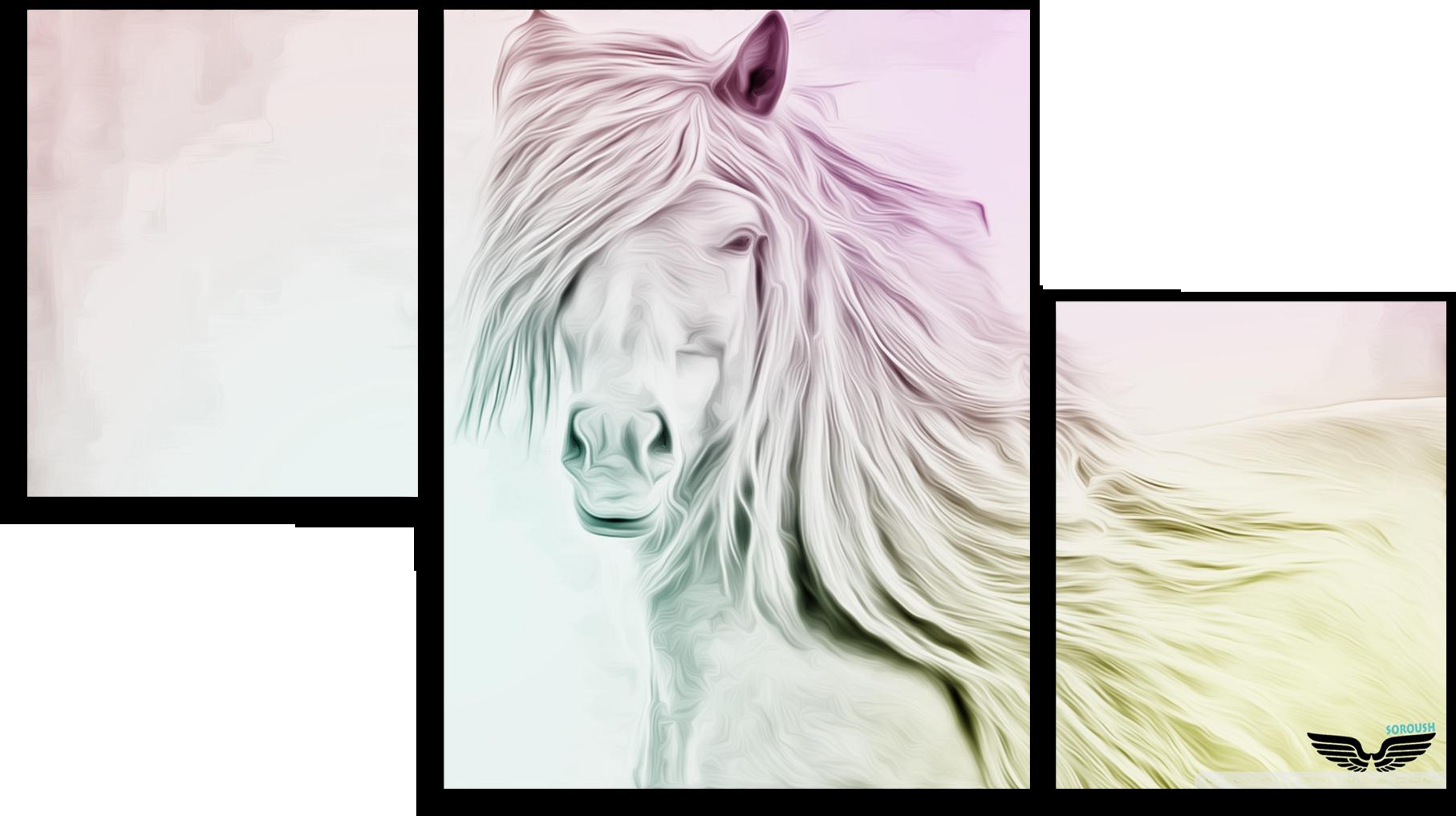 """Животные Модульная картина """"Белая лошадь"""" М467.png"""