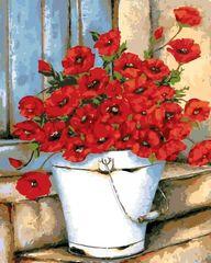 Картина раскраска по номерам 40x50 Букет маков в белом ведре