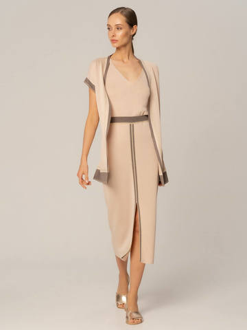 Женская юбка бежевого цвета из вискозы с разрезом и контрастной полосой - фото 3