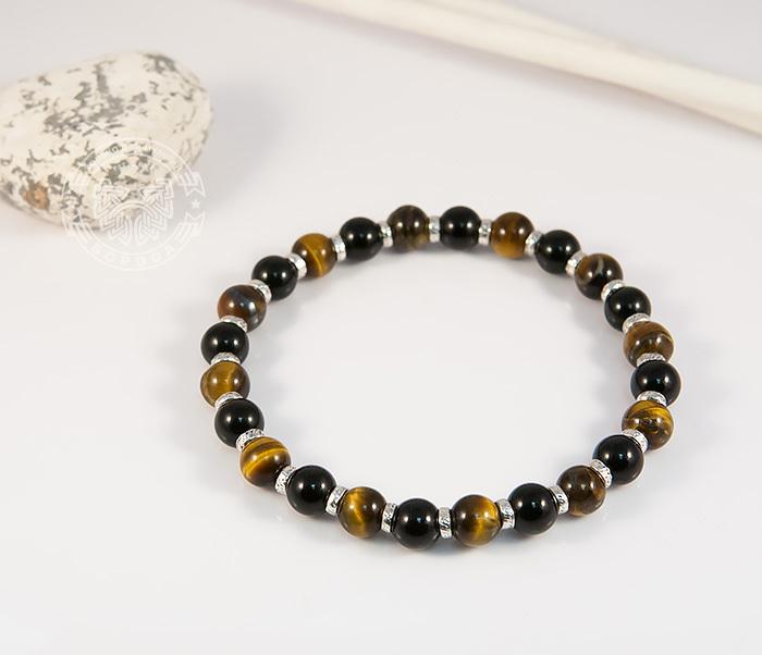 BS703 Яркий мужской браслет из тигрового глаза и агата, ручная работа, «Boroda Design»