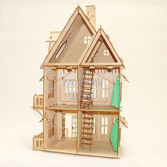 Кукольный домик, 3-этажный с обоями