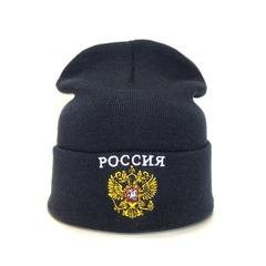 Вязаная шапка с эмблемой герба России (Russia) черная