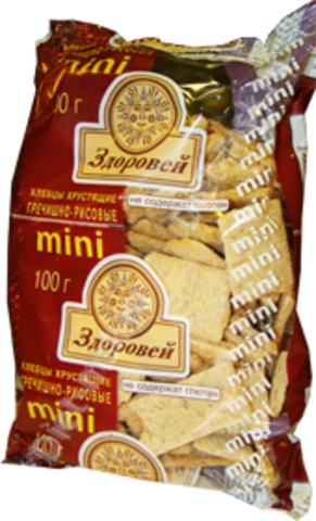 Хлебцы Здоровей МИНИ Гречнево-Рисовые б/глютена 100г