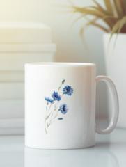 Кружка с изображением Цветы (Васильки) белая 001
