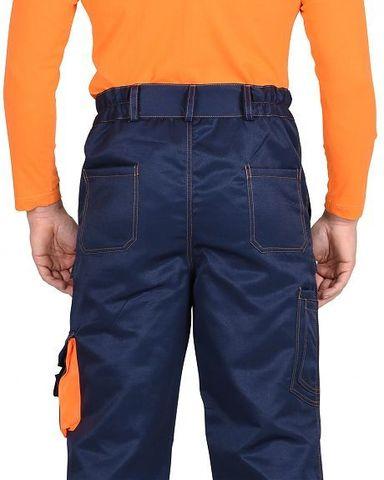 Брюки Темно-синие с оранжевым