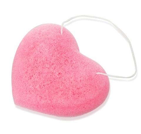 ТФ СТТ41 Спонж КОННЯКУ для бережного очищения кожи цвет розовый/сердце