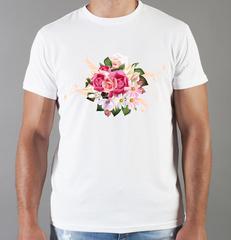 Футболка с принтом Цветы (Розы) белая 0012
