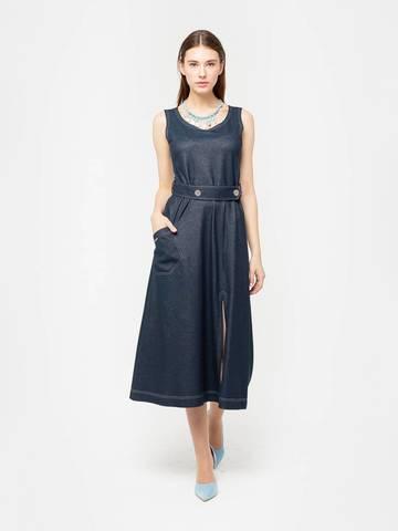 Фото джинсовое длинное платье-сарафан с поясом и накладным карманом - Платье З294-644 (1)