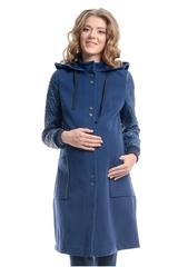Демисезонное пальто для беременных с капюшоном цвет синий