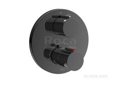 T-1000 Round Смеситель для душа термостатический скрытого монтажа (для установки с RocaBox A525869403), Titanium Black Roca 5A2C09CN0 фото