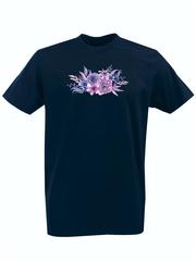 Футболка с принтом Цветы (Пионы) темно-синяя 001