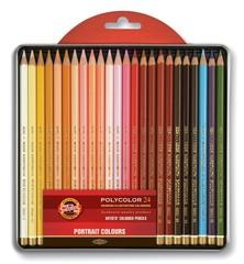 Набор художественных цветных карандашей POLYCOLOR PORTRAIT 24 цвета в металлической коробке, защищенной блистером