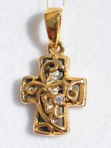 Крест-складень цветочный(кулон из серебра с позолотой)
