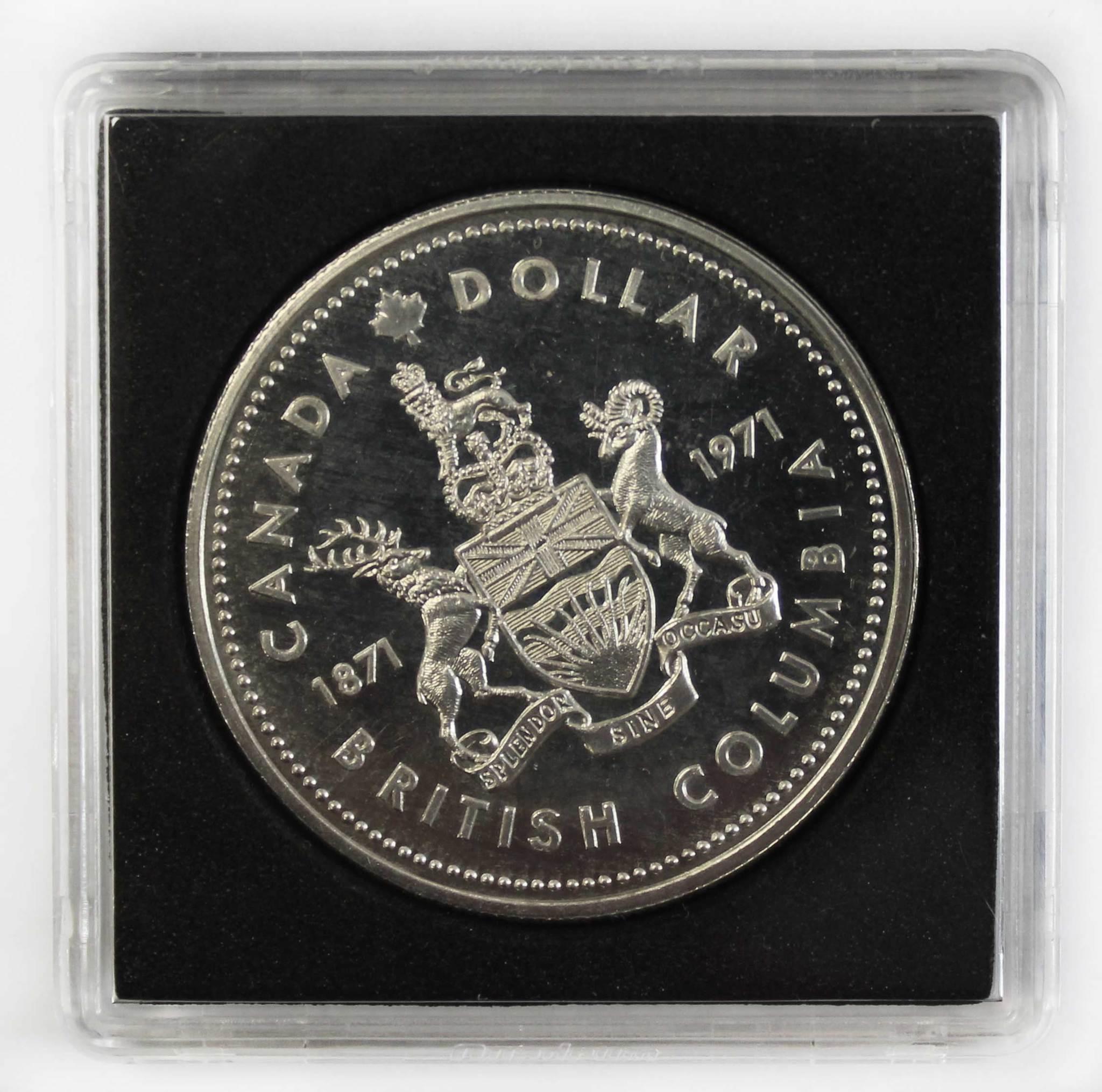 1 доллар. 100 лет присоединению Британской Колумбии. Канада. 1971 год. BrUNC Серебро