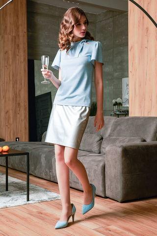 Фото пыльно-голубая блуза прямого кроя со стойкой-воротником - Блуза Г693-233 (1)