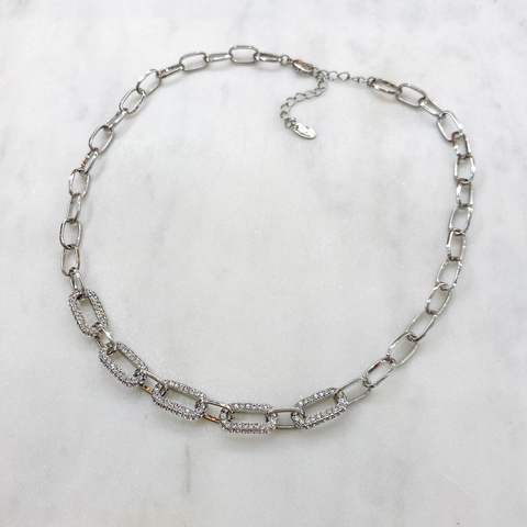 Колье-цепь с овальными звеньями с кристаллами Swarovski (серебристый)