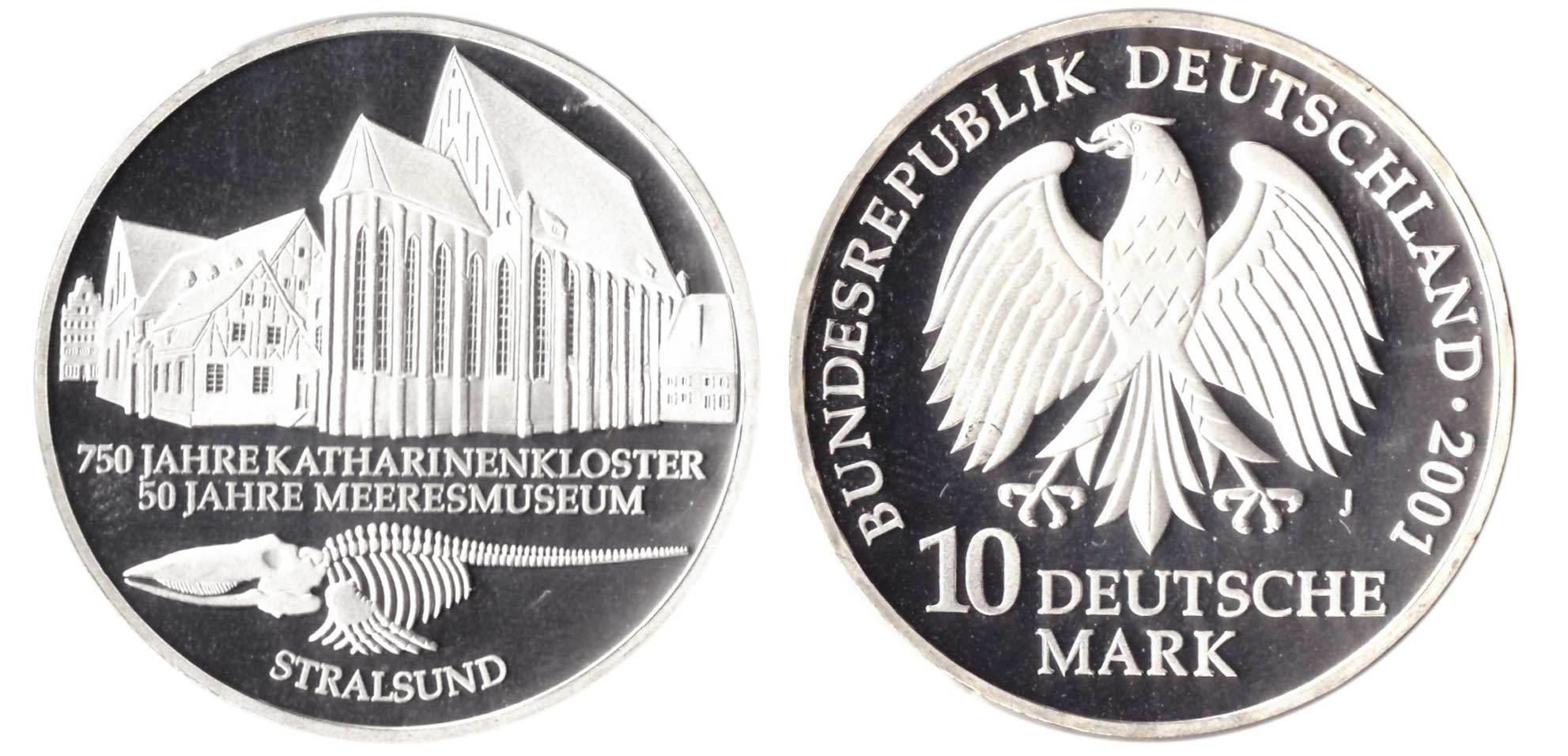 10 марок. 50 лет музею в Штральзунде (J). Серебро. 2001 г. PROOF