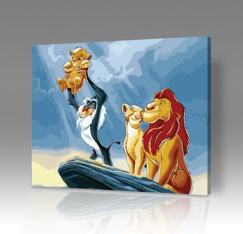 Картина по номерам на холсте Король Лев - Рождение Симбы, 40см*50см