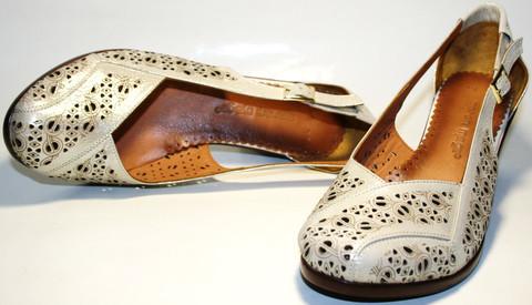 Летние женские туфли кожаные на толстом каблуке Marani Magli  36 размер