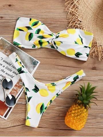 купальник раздельный бандо твист белый с лимонами 2