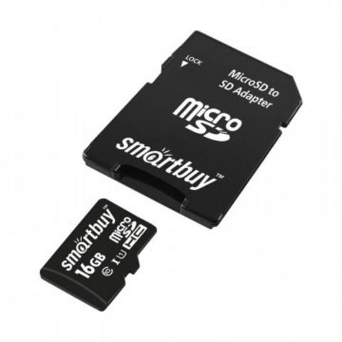 Карта памяти SmartBuy microSDHC 16GB Class10 UHS-I +ад.(SB16GBSDCL10-01)