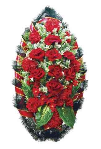 Венок из искусственных цветов розы, хризантемы