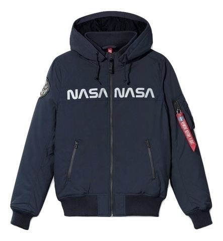 Куртка Alpha Industries MA-1 Hooded NASA II Blue (Синяя)