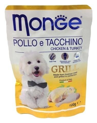 Купить пауч Monge Grill Pouch Chicken & Turkey  влажный корм для собак с курицей и индейкой 100г
