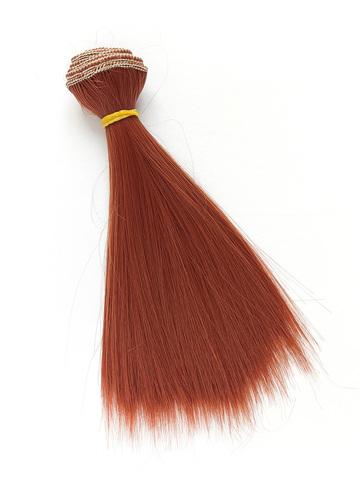 Волосся для ляльки, Let's make треси 15 см. Темний мідний