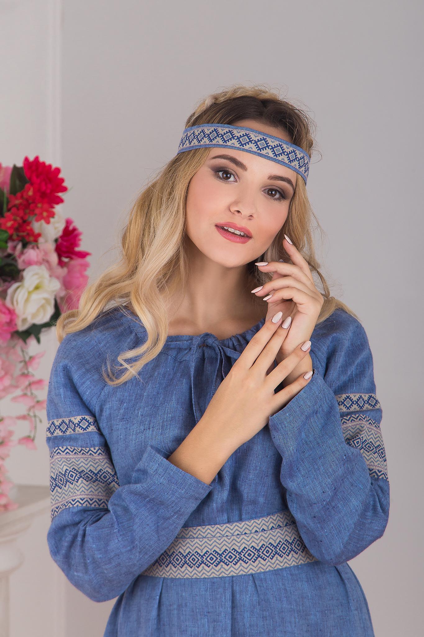 Платье Льняной дождь с очельем