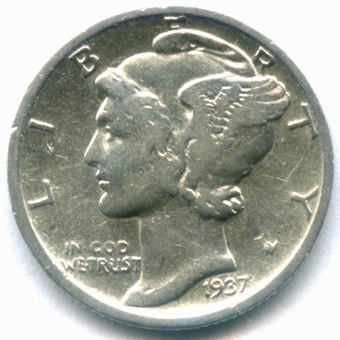 1 дайм (10 центов) 1937 (D). США F-VF (Меркурий) Серебро