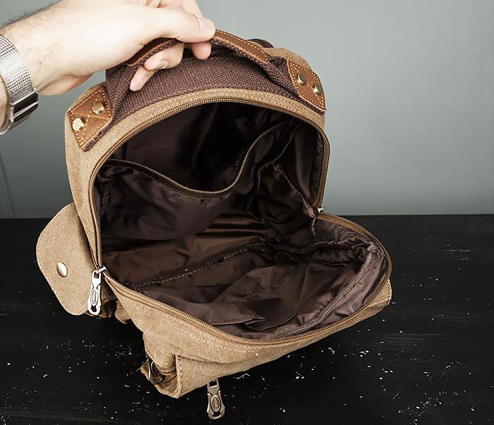 BAG394-2 Коричневый городской рюкзак с одной лямкой через плечо фото 13