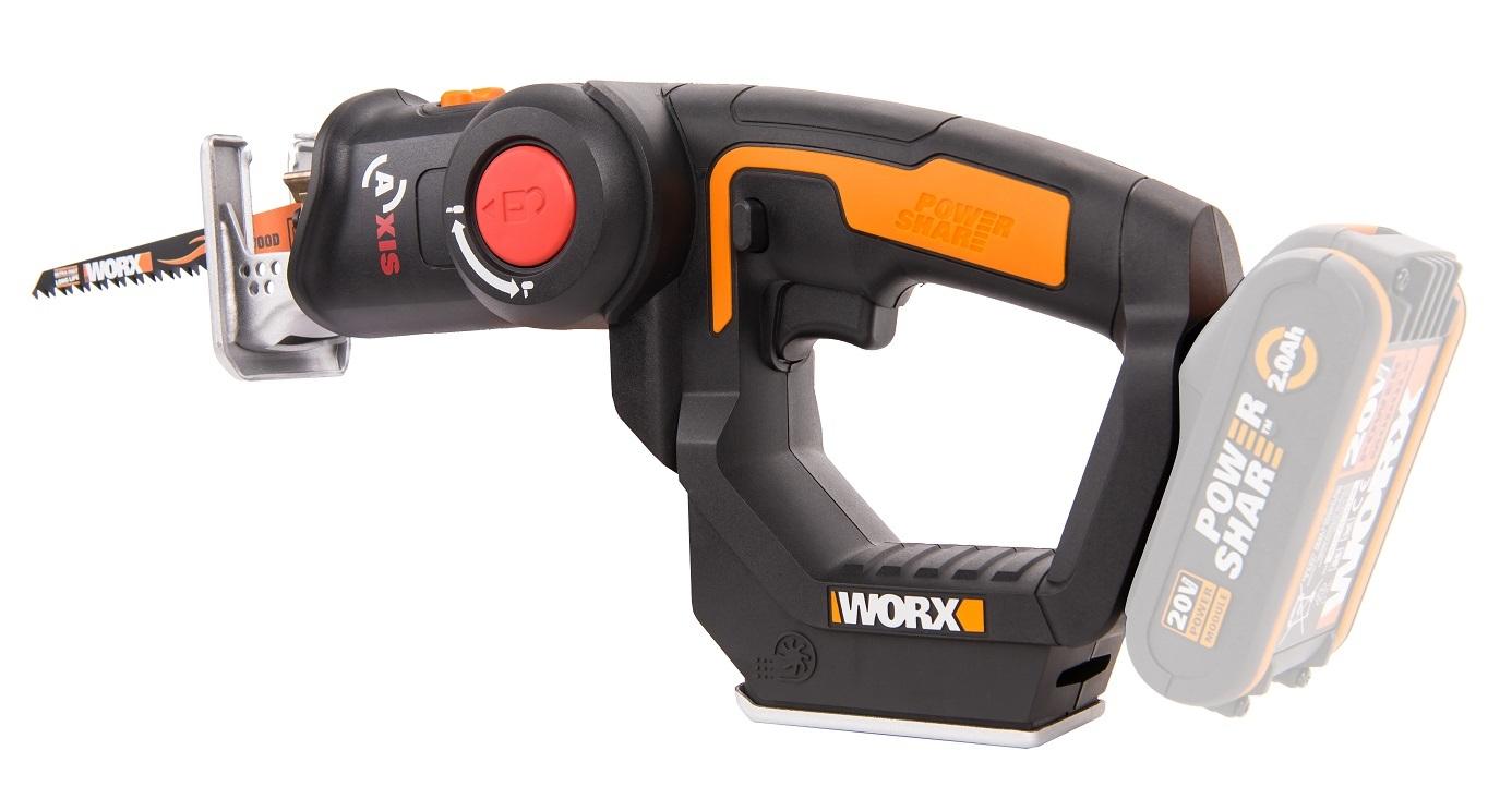 Лобзик аккумуляторный-сабельная пила WORX Axis WX550, 20В, без АКБ и ЗУ