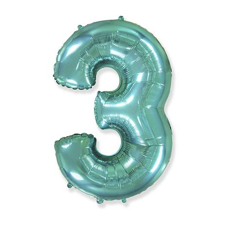 Фольгированная цифра 3, тиффани