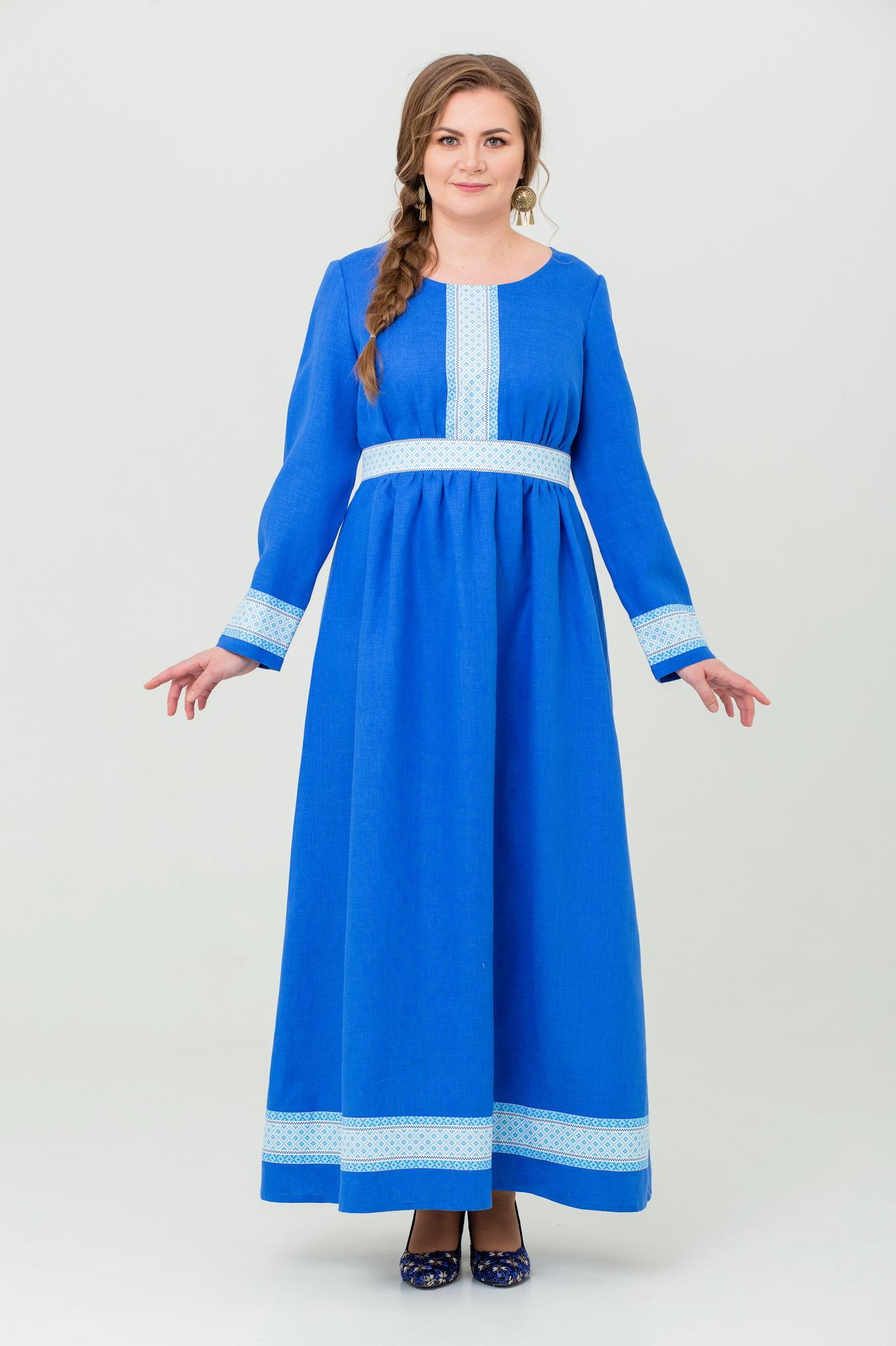 Платье льняное Процветание в русском стиле