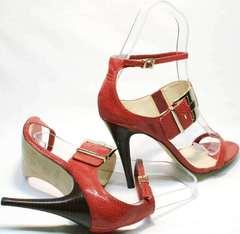 Модные босоножки на каблуке 10 см Via Uno1103-6605 Red.