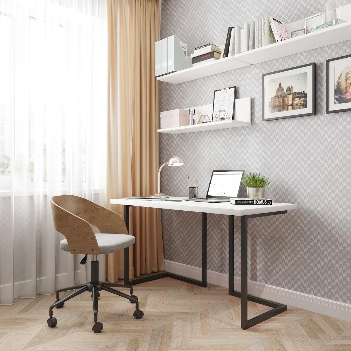 Письменный стол ДОМУС Урбан-1 белый/металл черный