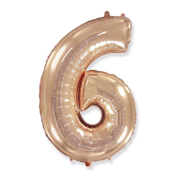 Фольгированная цифра 6, розовое золото