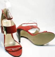 Модные летние босоножки на тонкой подошве женские Via Uno1103-6605 Red.